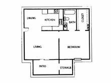 606 sq. ft. E floor plan