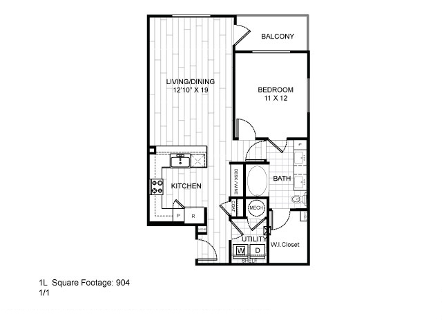 904 sq. ft. 1L floor plan