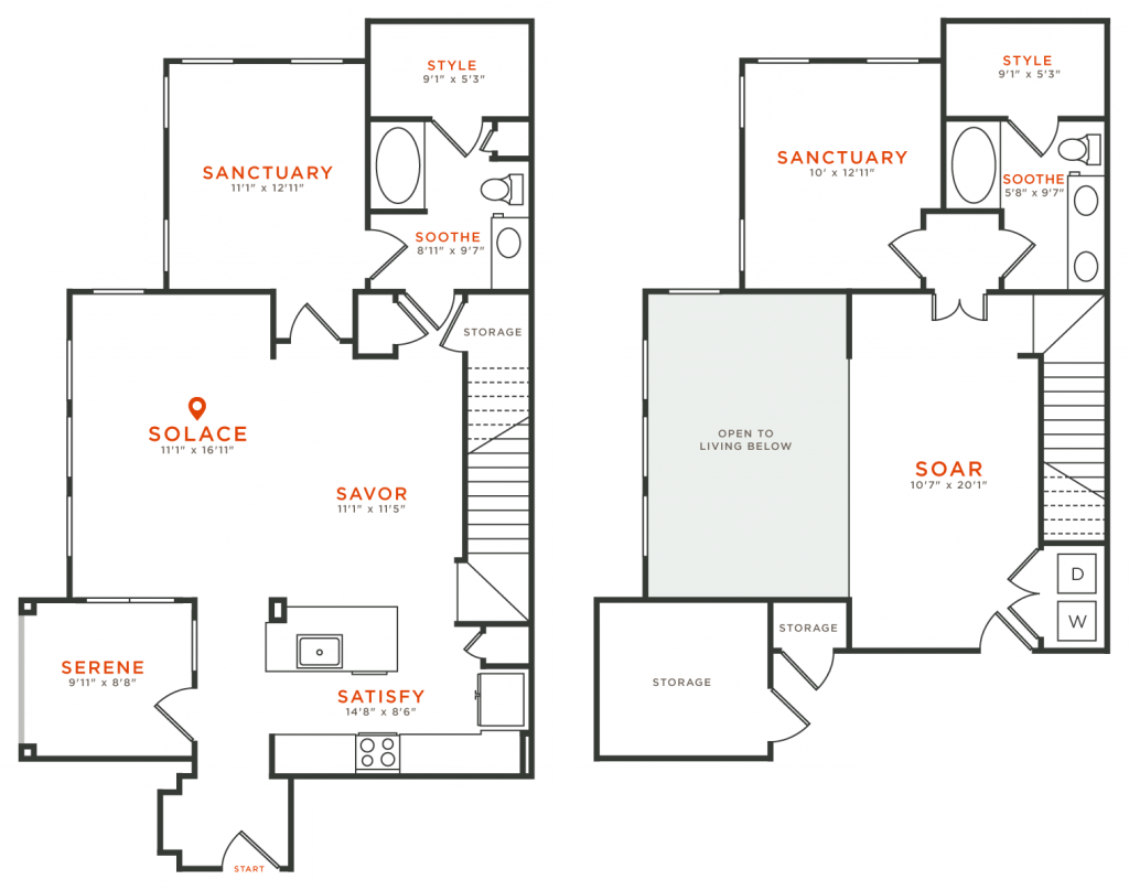 1,581 sq. ft. TH3 floor plan