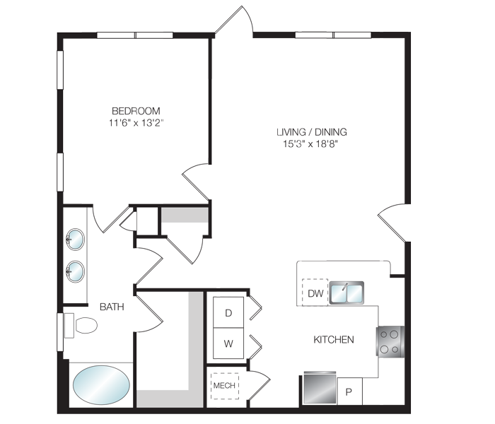 840 sq. ft. A4.1 floor plan