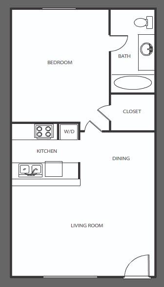 630 sq. ft. B floor plan