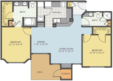 1,020 sq. ft. Spencewood floor plan