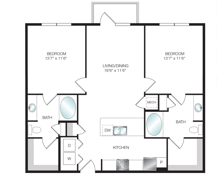 1,080 sq. ft. B2.1 floor plan