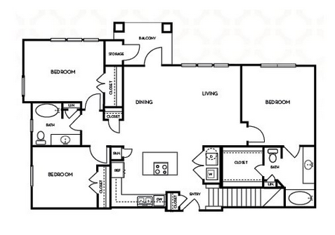 1,377 sq. ft. C1.1G floor plan