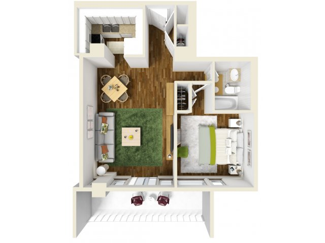 601 sq. ft. floor plan