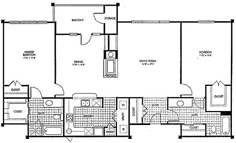 1,410 sq. ft. B1 floor plan