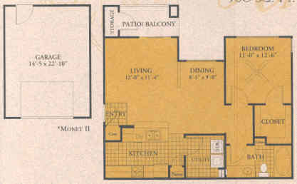 760 sq. ft. A1-G floor plan