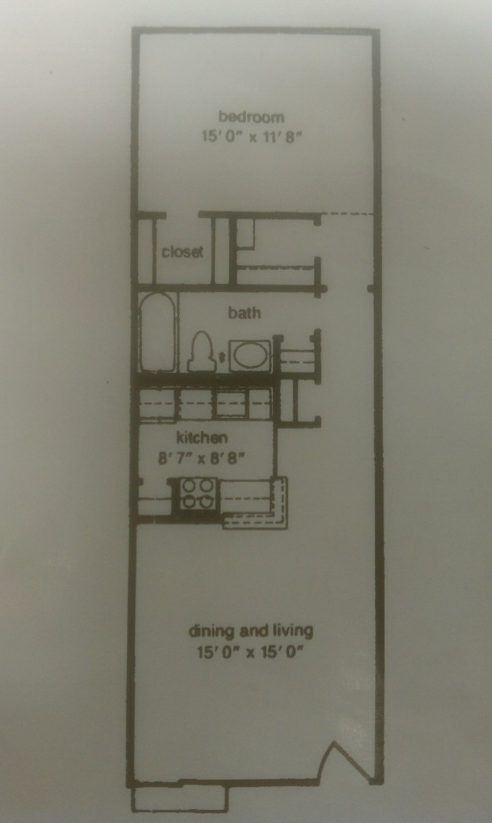670 sq. ft. 1B floor plan