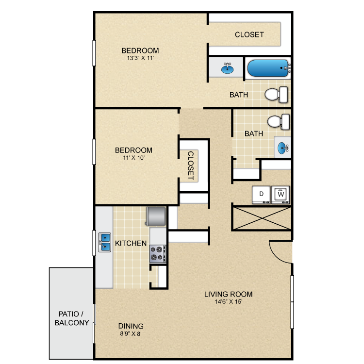 1,003 sq. ft. F floor plan