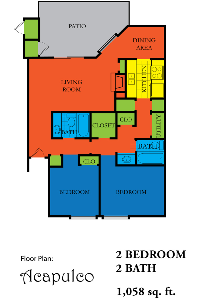 1,058 sq. ft. ACAPULCO floor plan