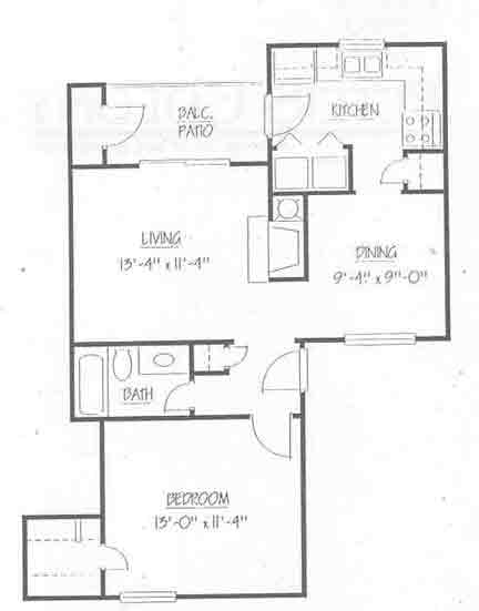 670 sq. ft. A1/50% floor plan