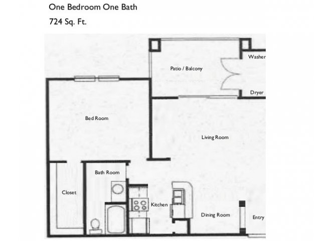 724 sq. ft. A3 floor plan