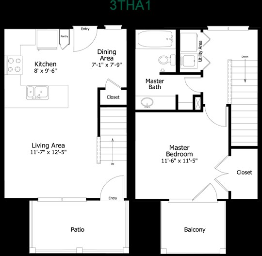 687 sq. ft. to 850 sq. ft. 3THA1-1 floor plan