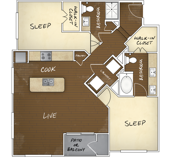 1,100 sq. ft. to 1,111 sq. ft. B1 floor plan