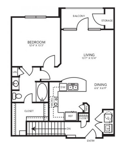 808 sq. ft. A2.1G floor plan