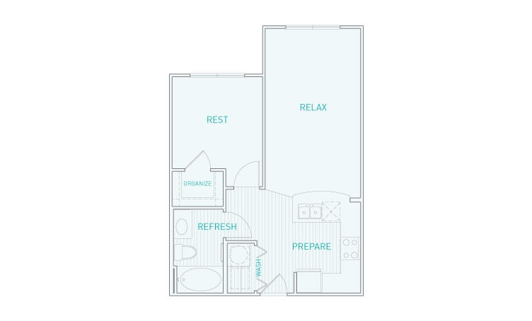 584 sq. ft. A1x floor plan