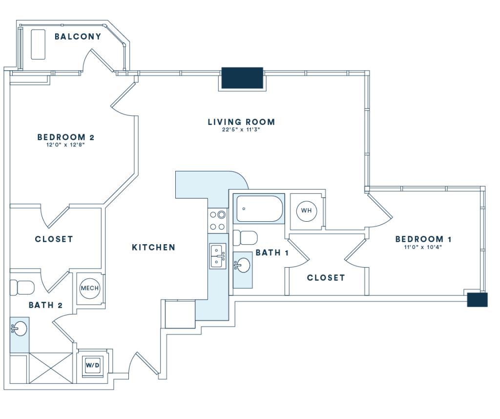 1,087 sq. ft. B3 floor plan