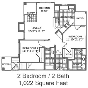 1,022 sq. ft. B1 60 floor plan