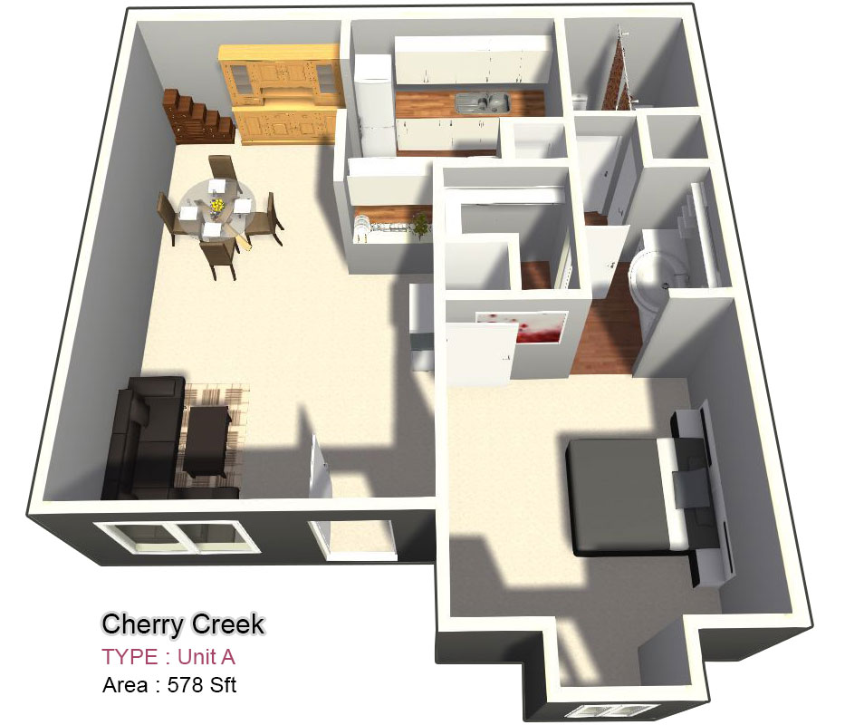578 sq. ft. A floor plan