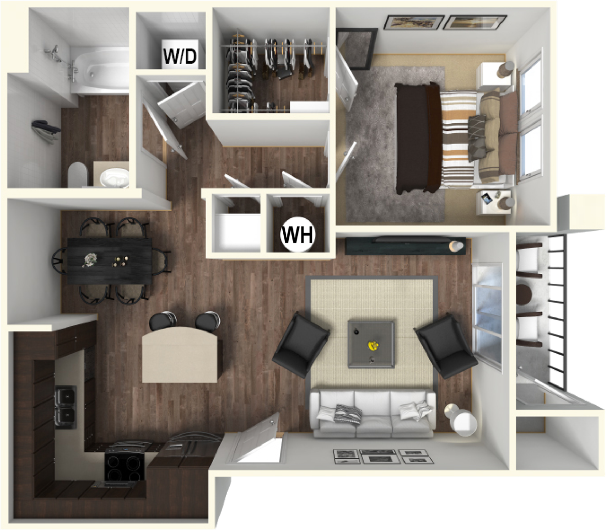 679 sq. ft. A2 floor plan