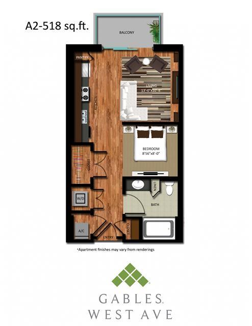 518 sq. ft. DA2 floor plan