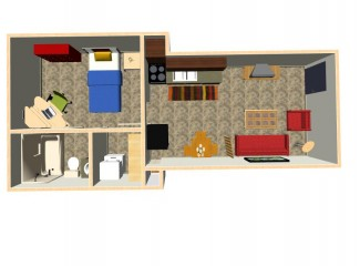 450 sq. ft. Cobain floor plan