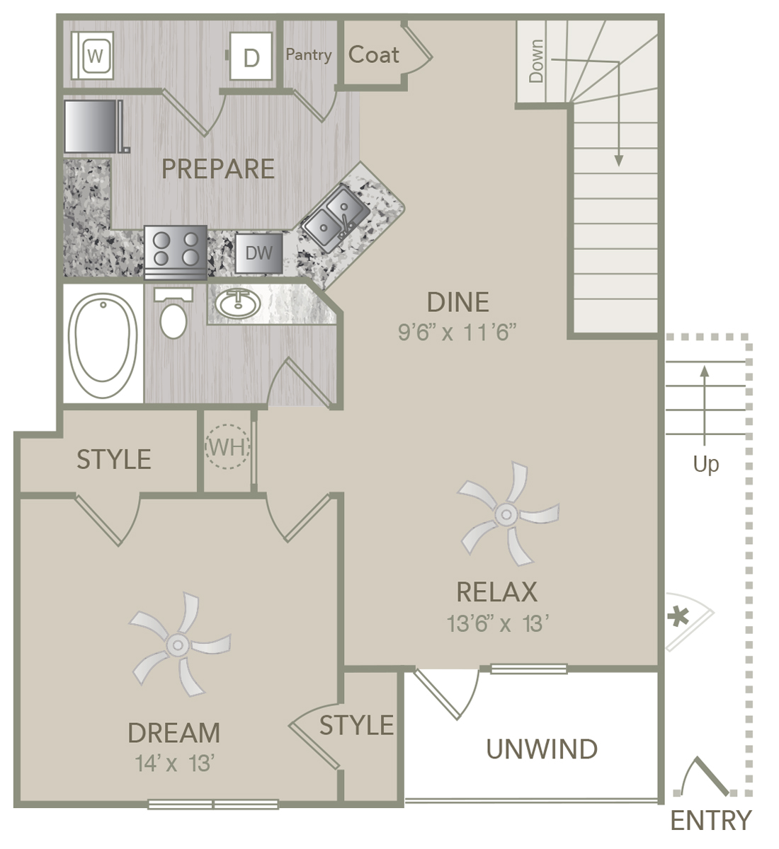 953 sq. ft. A2U floor plan