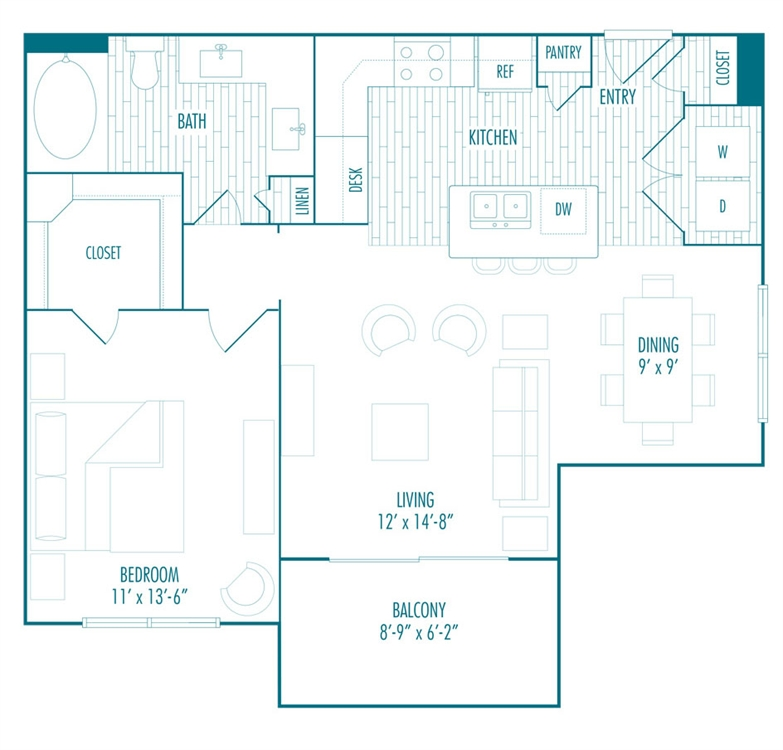 770 sq. ft. B3-3 floor plan