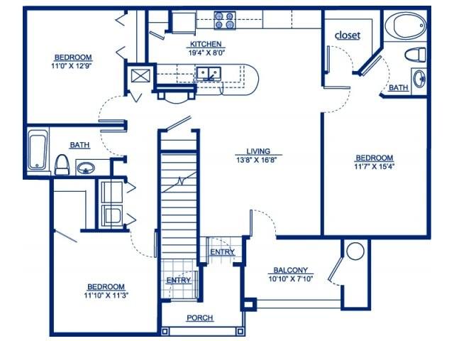 1,265 sq. ft. C1 floor plan