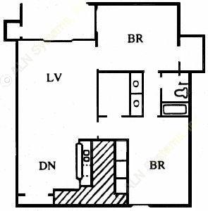 1,020 sq. ft. J floor plan