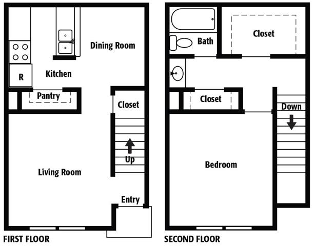 754 sq. ft. D floor plan