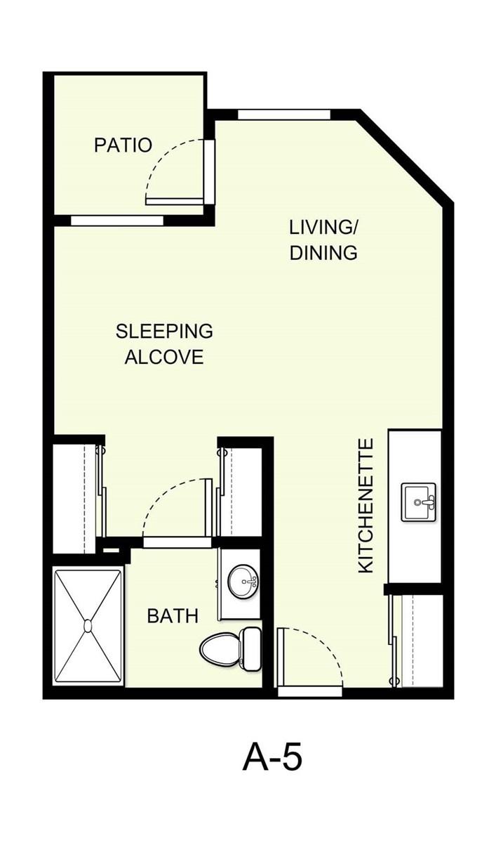 388 sq. ft. A5 floor plan