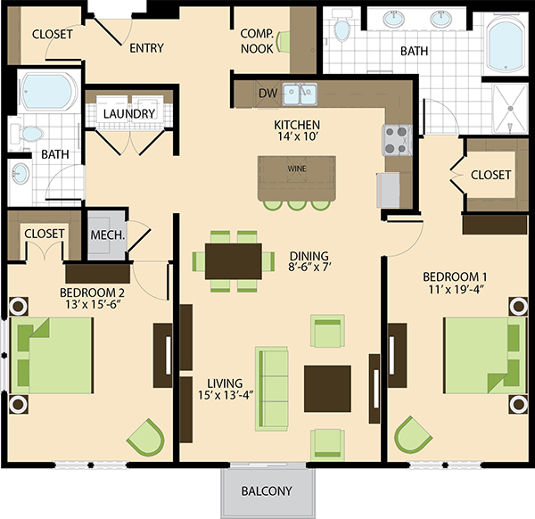 1,537 sq. ft. B4 floor plan