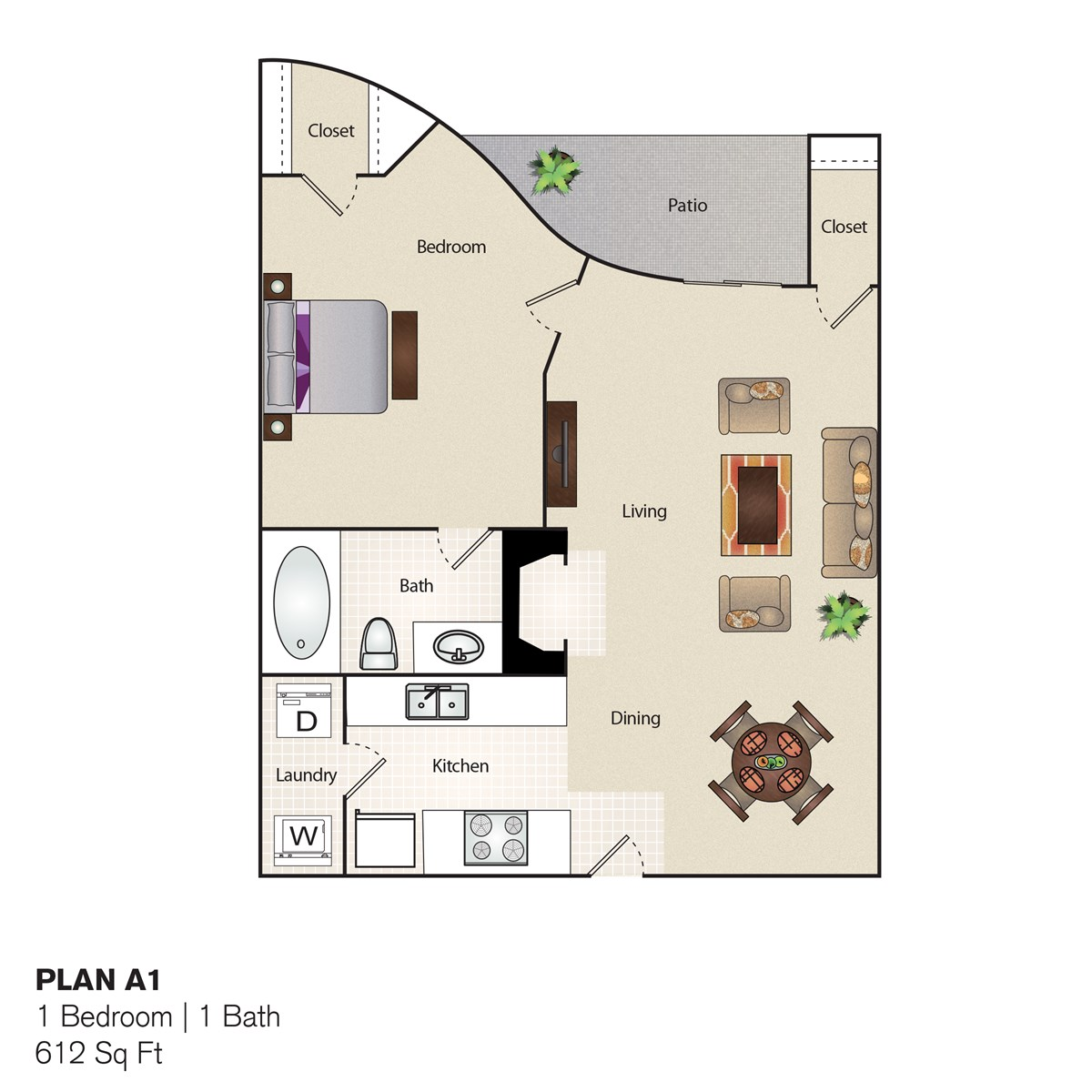 612 sq. ft. A floor plan