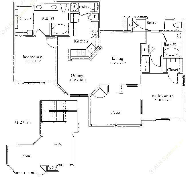 1,195 sq. ft. B4/B4 GAR floor plan
