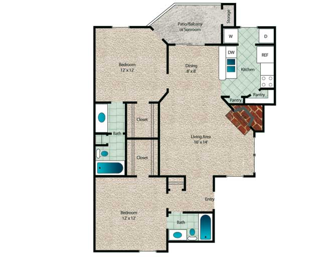 997 sq. ft. to 1,067 sq. ft. Cypress floor plan