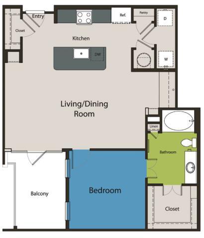 914 sq. ft. A7 floor plan