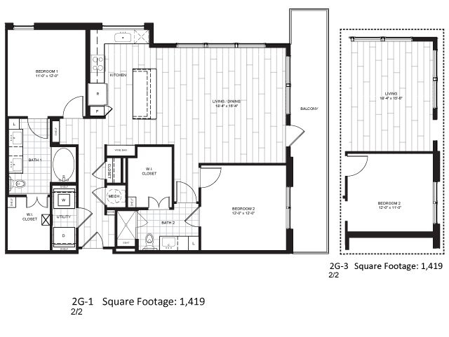 1,419 sq. ft. 2G-3 floor plan