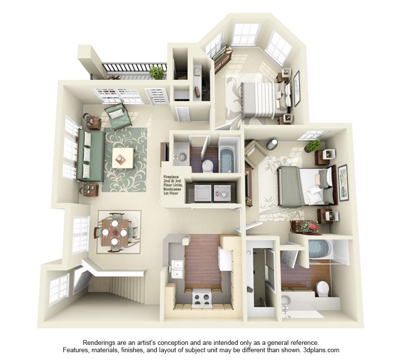 1,017 sq. ft. Davy Crockett floor plan
