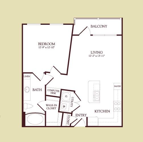 669 sq. ft. Chagall floor plan