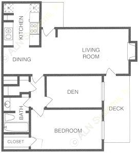 807 sq. ft. A3 floor plan