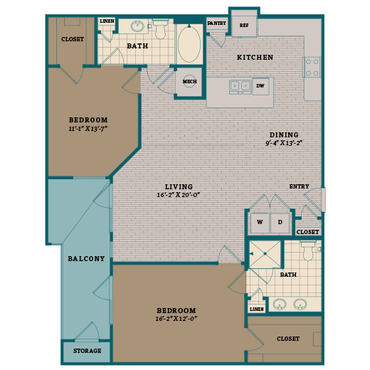 1,278 sq. ft. C4 floor plan