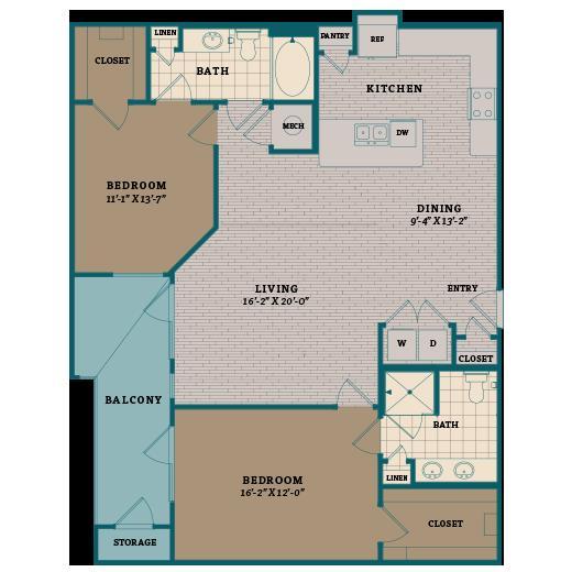1,278 sq. ft. C4 floor plan