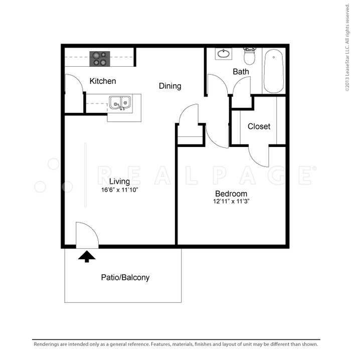 634 sq. ft. Heidi floor plan