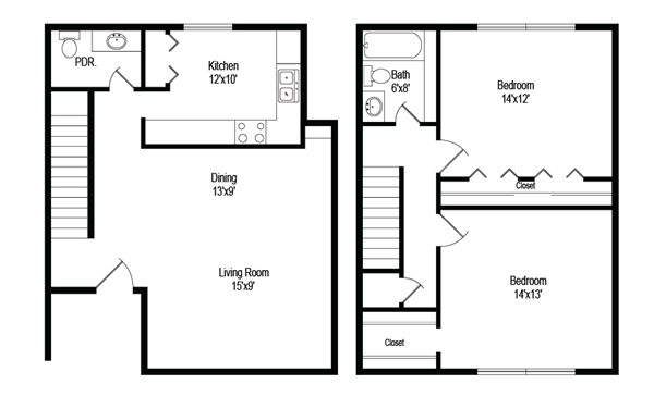 1,074 sq. ft. B4 floor plan