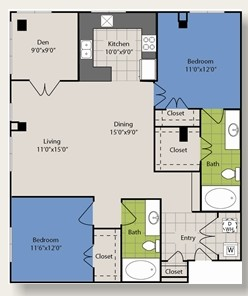 1,242 sq. ft. B11 floor plan