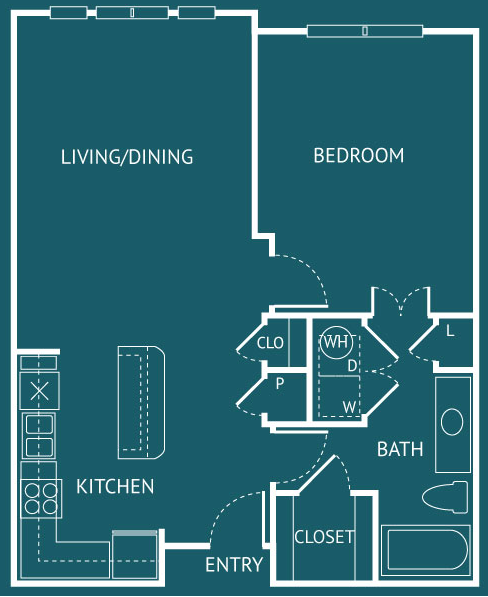 807 sq. ft. A2 floor plan