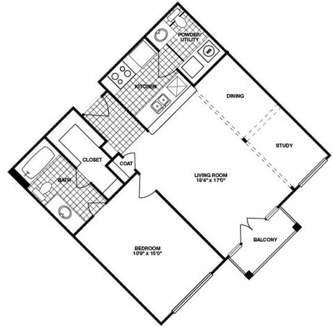 790 sq. ft. A8 floor plan