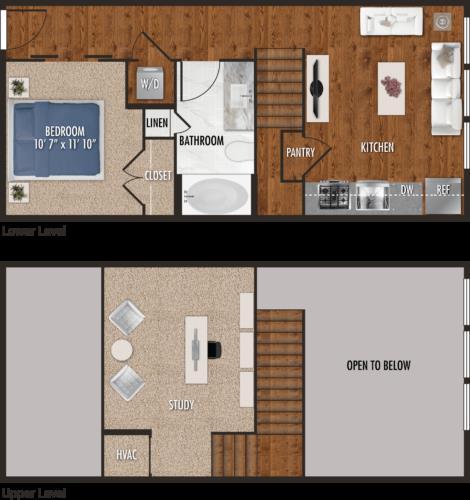 770 sq. ft. E2-M floor plan