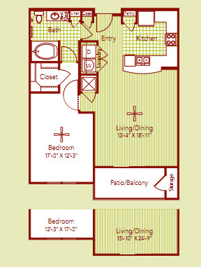 887 sq. ft. CORSICA floor plan